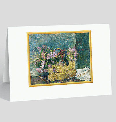Still Life with Moss Roses in a Basket Card