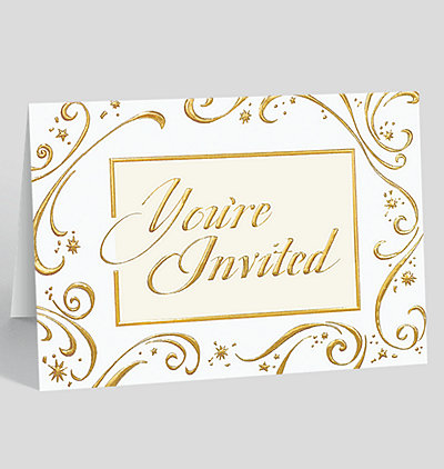 golden invitation holiday card - Corporate Holiday Party Invitations