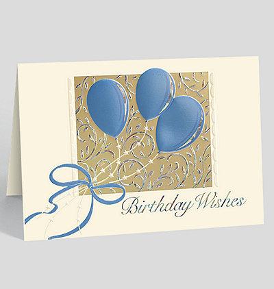 Silver Swirl Balloons Birthday Card