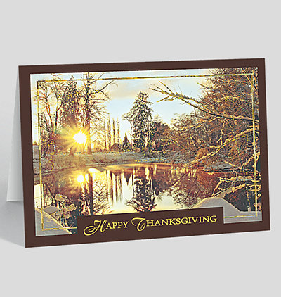 Thanksgiving Golden Snowscape Holiday Card