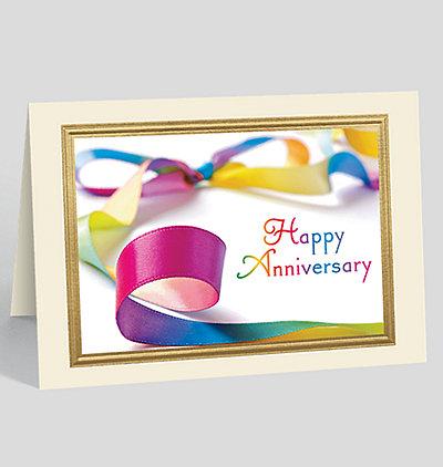 Colorful Ribbon Anniversary Card