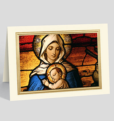 Virgin Mary Holding Baby Jesus Stained Glass Window at Dome Cathedral, Riga, Latvia Card