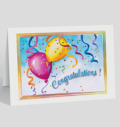 Balloons and Streamers Congrats Card