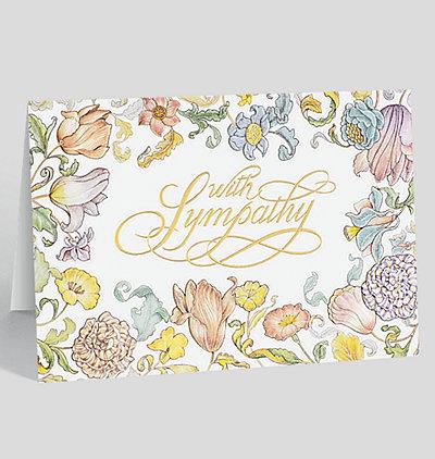 Floral Border Sympathy Card