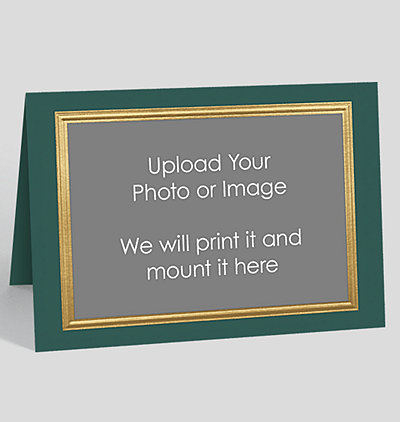 Business photo christmas cards the gallery collection gold border on green custom photo mount card horizontal colourmoves