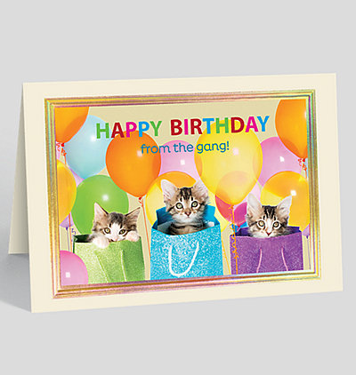 Sur-Purr-ise From the Gang Birthday Card