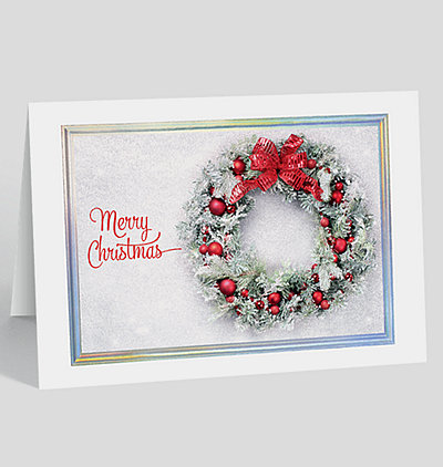 Business christmas cards holiday cards the gallery collection snowy wreath christmas card reheart Choice Image