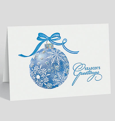 Blue Snowflake Ornament Holiday Card