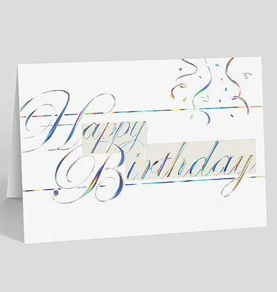 Silvery Script Birthday Card
