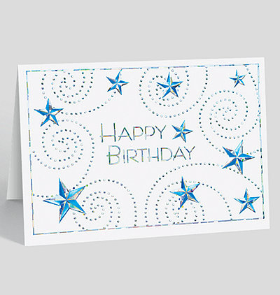 Whirling Stars Birthday Card