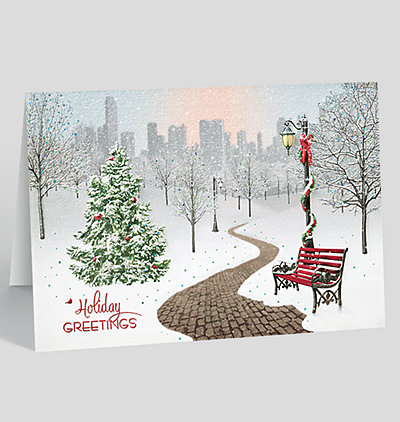 snowy park sparkle holiday card - Artistic Holiday Cards