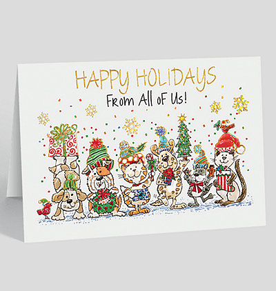 holiday party pets card - Happy Holidays Card