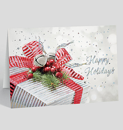 Silvery Gift Holiday Card