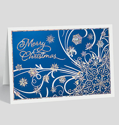 Burst of Blue Christmas Card