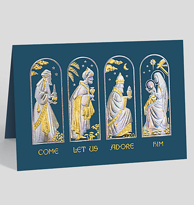 come let us adore him christmas card - Religious Christmas Cards