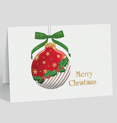 Holly Cane Ornament Christmas Card
