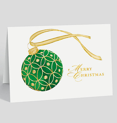 Emerald Jeweled Ornament Christmas Card
