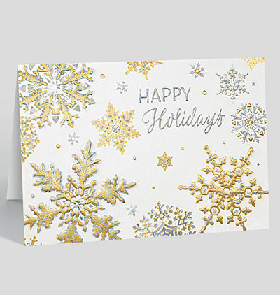 Golden Snowflakes Holiday Card