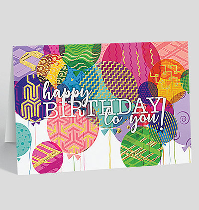 Colorful Balloon Collage Birthday Card
