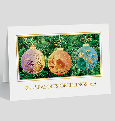 Etched Ornament Trio Holiday Card