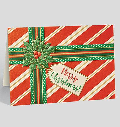 Holly Bow Present Christmas Card