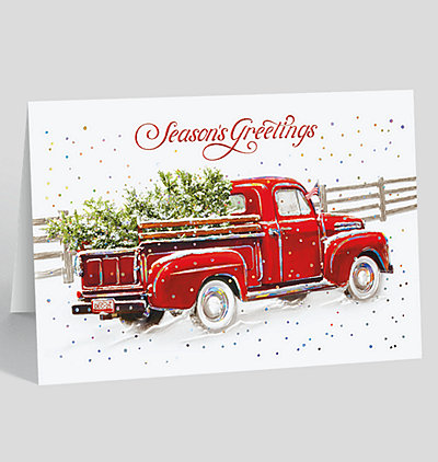 Red Pickup Season's Greetings Holiday Card