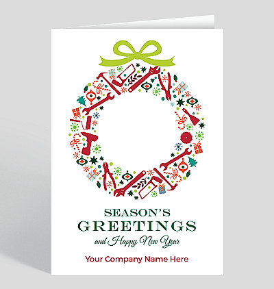 tool wreath christmas card - Christmas Cards For Clients