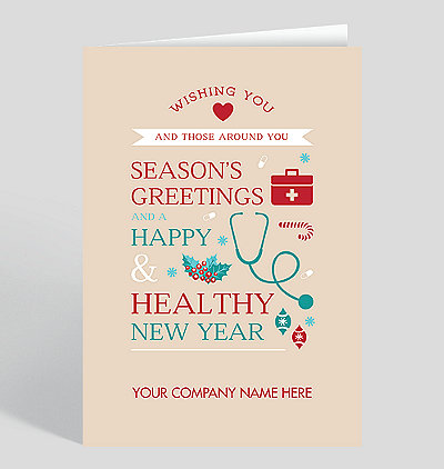 happy healthy greetings holiday card