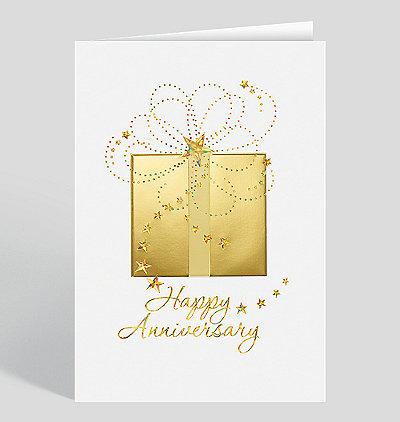 Golden Swirls Anniversary Card