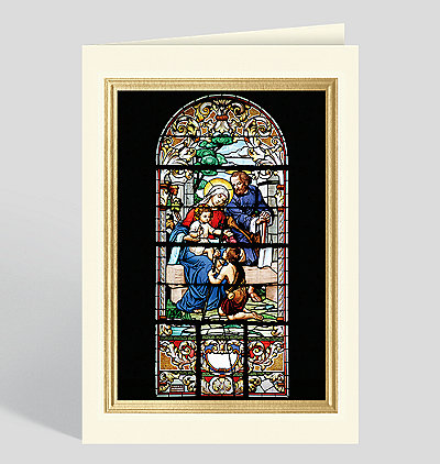 Holy Family Stained Glass Window Christmas Card