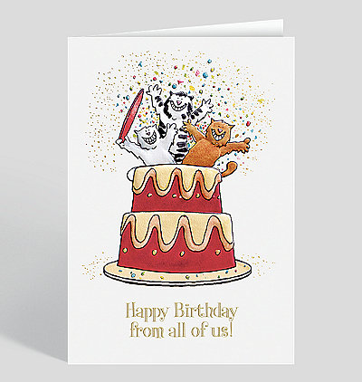 Cats A Poppin' Birthday Card