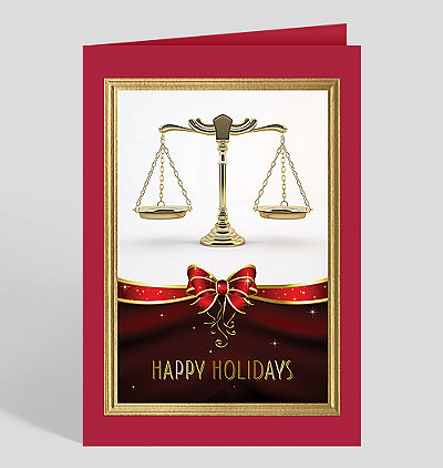 Golden Scales Of Justice Holiday Card