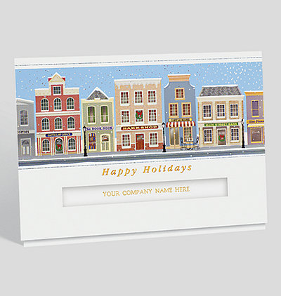 quaint village holiday card - Realtor Christmas Cards