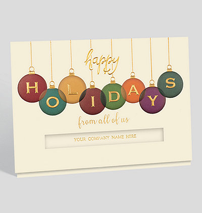 holiday ornaments card - Personalized Christmas Cards No Photo