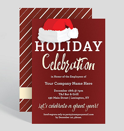 holiday hat corporate party invitation
