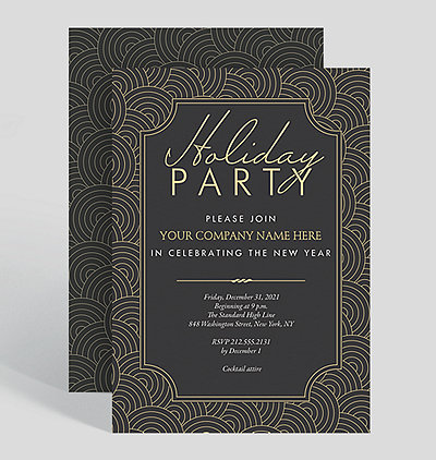 deco swirls holiday party invitation
